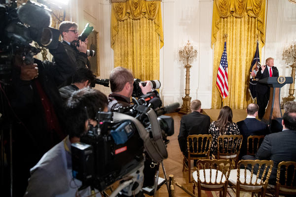 President Donald Trump speaks during a news conference, Feb. 16, 2017, in the East Room of the White House.