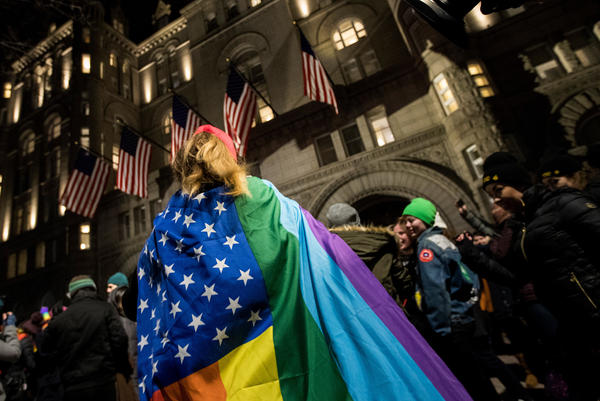 Protesters and LGBT activists rally outside Trump International Hotel this month in Washington, D.C.
