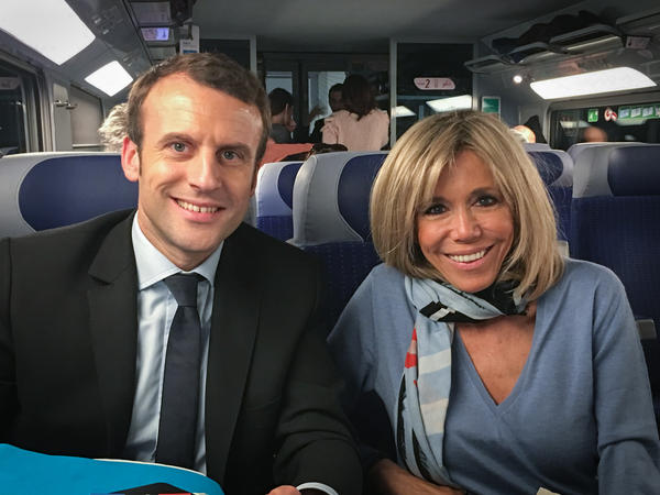 Macron and his wife Brigitte traveled from Paris to Toulon on a second-class train for a rally earlier this month.