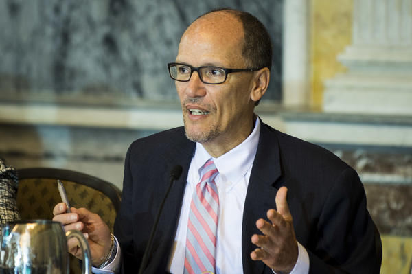 "Newly elected DNC Chair Thomas Perez — shown here in June 2016 as the secretary of the Labor Department under President Obama — says Democrats need a ""50-state strategy"" to defeat Republicans at all levels of government."