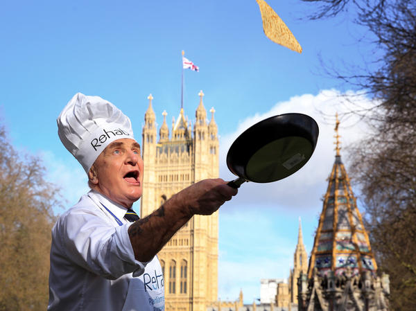 Steve Pound, MP, pictured at the Rehab Parliamentary Pancake Race 2017. Pancake races are a Shrove Tuesday tradition in England dating back centuries.