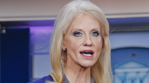 Presidential counselor Kellyanne Conway answers questions during a television interview in the White House last month.