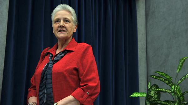 Marie Collins attends a press conference at the Vatican in May 2014. The prominent survivor of abuse by a priest has resigned her position on Pope Francis' commission to combat clerical sex abuse, citing her frustration with resistance from within the Vatican.