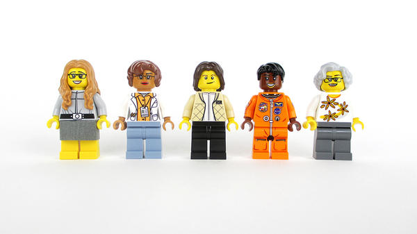 The Women of NASA featured in the Lego set are (left to right): computer scientist Margaret Hamilton, mathematician Katherine Johnson, astronaut Sally Ride, astronaut Mae Jemison and astronomer Nancy Grace Roman.
