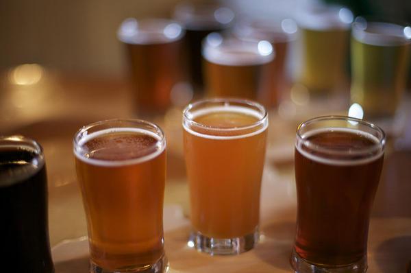 Beers at Bell's Brewery in Kalamazoo.