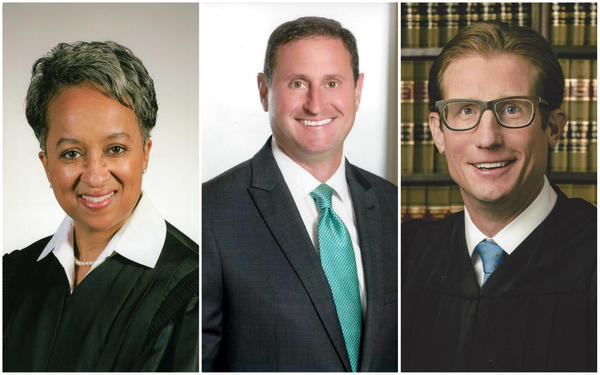 Lisa White Hardwick (L), Benjamin Lipman (C) and Brent Powell (R) are the three nominees to replace Richard Teitelman on the Missouri Supreme Court.