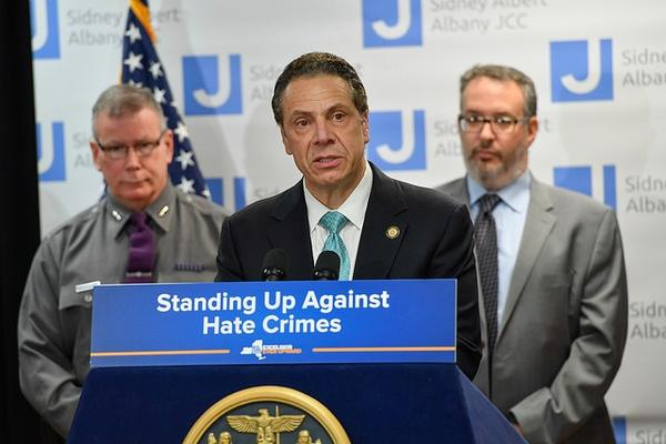Governor Andrew Cuomo tours and addresses the increase in hate crimes in New York State and across the country at the Sidney Albert Albany Jewish Community Center in Albany, N.Y., on Wednesday.
