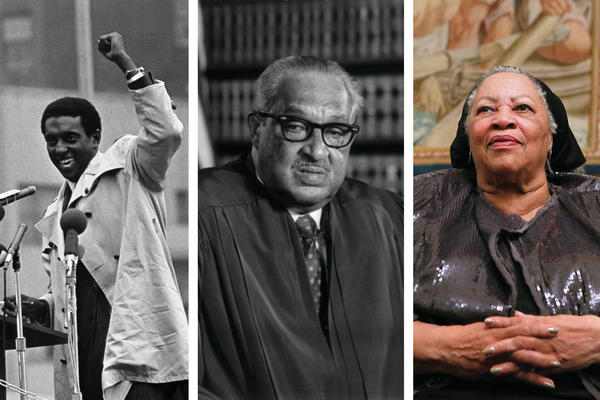 A few of the famous Howard University graduates from the past 150 years (from left): Stokely Carmichael, Thurgood Marshall and Toni Morrison.