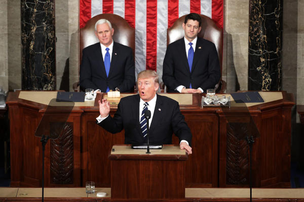 President Trump addresses a joint session of the U.S. Congress as Vice President Mike Pence (left) and House Speaker Rep. Paul Ryan (right) (R-WI) look on on Feb. 28, 2017 in the House chamber of the U.S. Capitol in Washington. (Chip Somodevilla/Getty Images)