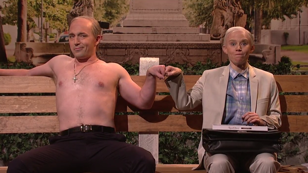 Beck Bennett as Vladimir Putin and Kate McKinnon as Jeff Sessions on <em>Saturday Night Live</em> on<em> </em>March 4.
