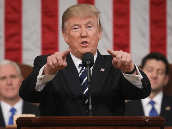 President Trump delivers his first address to a joint session of Congress on Feb. 28 in the House chamber of the Capitol in Washington, D.C.