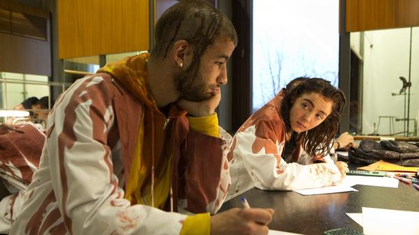 Veterinary students Julien (Rabah Nait Oufella) and Justine (Garance Marillier) flesh out their study plan in <em>Raw</em>.