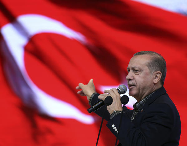 "Turkish President Recep Tayyip Erdogan addresses a meeting in Istanbul on Sunday, the same day he said that German government practices are ""no different than the Nazi ones of the past."""