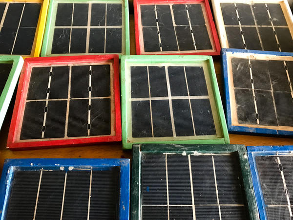 Solar panels made by students at the vocational center.
