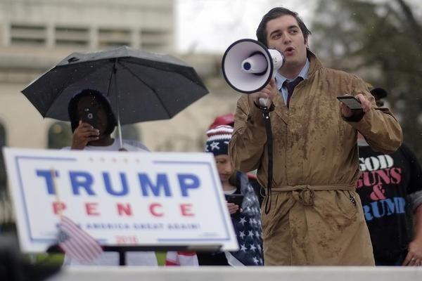 Houston College Republicans President Matthew Wiltshire address Trump supporters at Wooldridge Park.