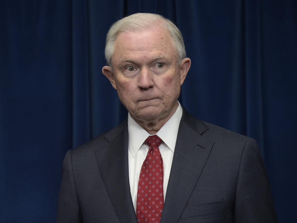 Attorney General Jeff Sessions before making a statement Monday on issues related to visas and travel at the U.S. Customs and Border Protection office in Washington.