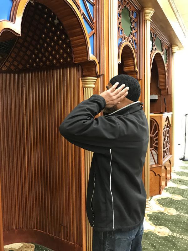 Imam, Shahied Rashid is chanting a call to prayer