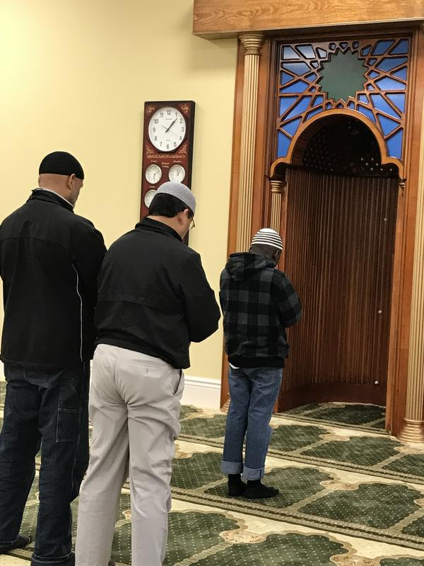 A small gathering for prayer at one o'clock