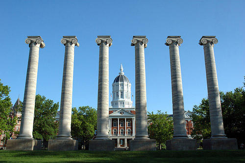 A mid-Missouri landmark, the historic columns and Jesse Hall on the flagship campus of the University of Missouri system in Columbia, Missouri.  The Board of Curators for the system meets today in St. Louis to discuss possible tuition increases.