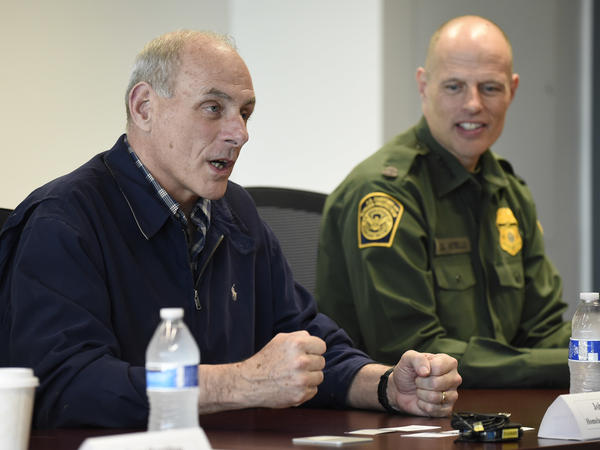 Secretary of Homeland Security John Kelly (left) and Chief of United States Border Patrol Ronald Vitiello during a meeting held at the San Ysidro Port of Entry in San Diego in February.