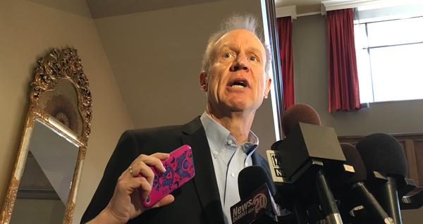 Gov. Bruce Rauner speaks with reporters in Springfield on Wednesday, March 7, 2017.