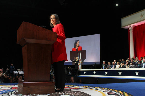 Lisa Madigan speaks at her 2015 inauguration in this file photo.