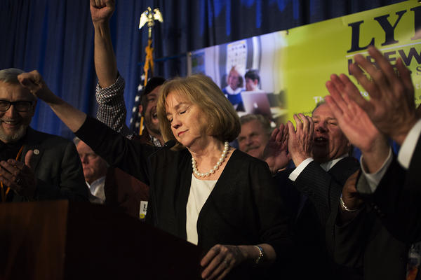 Lyda Krewson thanks her supporters, family and campaign staff after winning the Democratic mayoral primary election by 888 votes.