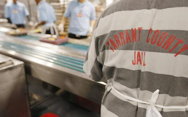 Kitchen workers in Tarrant County's Lon Evans Corrections Center.