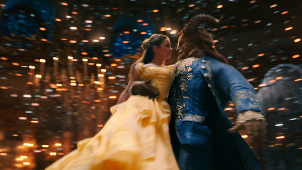 <em>Buffalo Gal, Won't You Come Out Tonight</em>: Belle (Emma Watson) and the Beast (Dan Stevens) twirl in the live-action musical salute to interspecies Stockholm Syndrome,<em> Beauty and the Beast</em>.