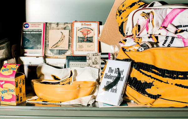 A detail of Satlof's collection of Velvet Underground records and ephemera.