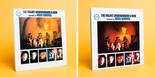 (Left) A version of the original pressing included an image of a man projected behind the band. After threats of lawsuits by the man, his likeness was obscured in subsequent pressings through retouching (right) or sometimes covered by a sticker.