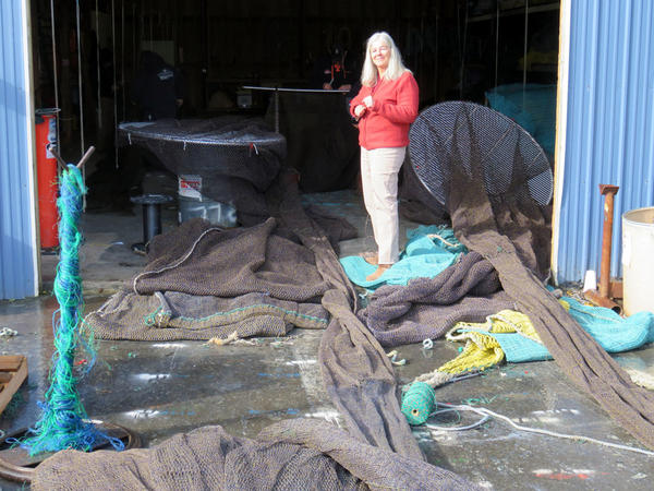 Sara Skamser runs the commercial fishing net shop Foulweather Trawl at the Port of Newport, Oregon.