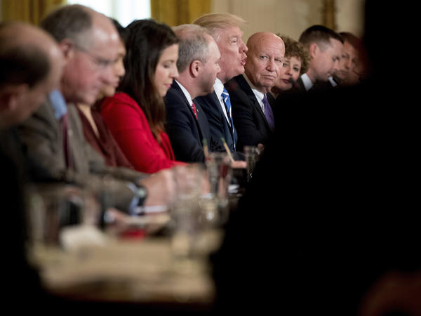 President Trump speaks to the Republican House whip team about the proposed health care bill. Trump highlighted Rep. Elise Stefanik, R-N.Y., (in the foreground) as the youngest woman ever elected to Congress.
