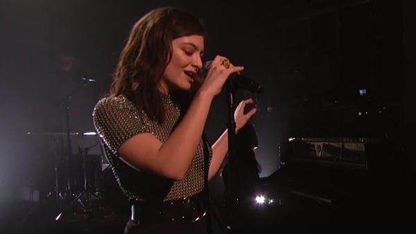 "Lorde performs ""Green Light"" on Saturday Night Live on March 12."