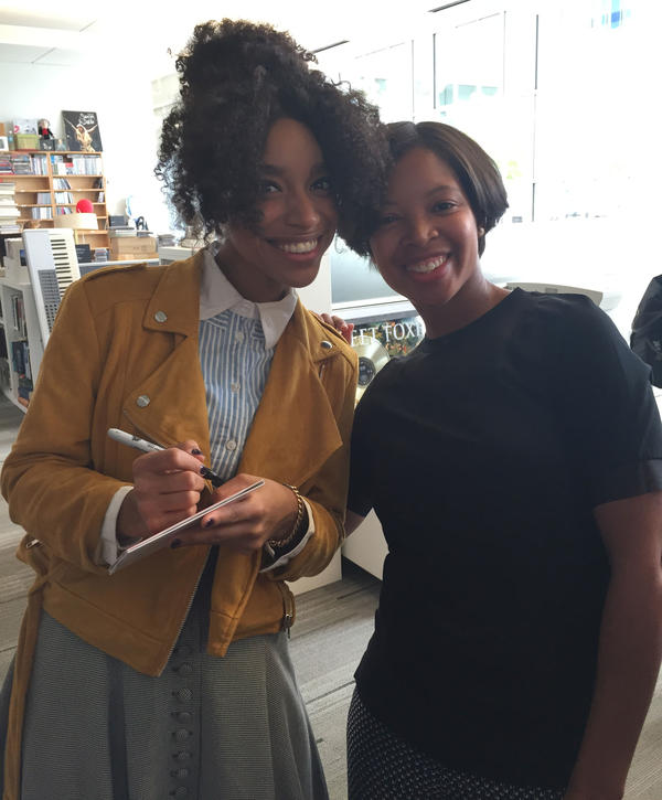 Tiffany and Lianne La Havas after her Tiny Desk performance.