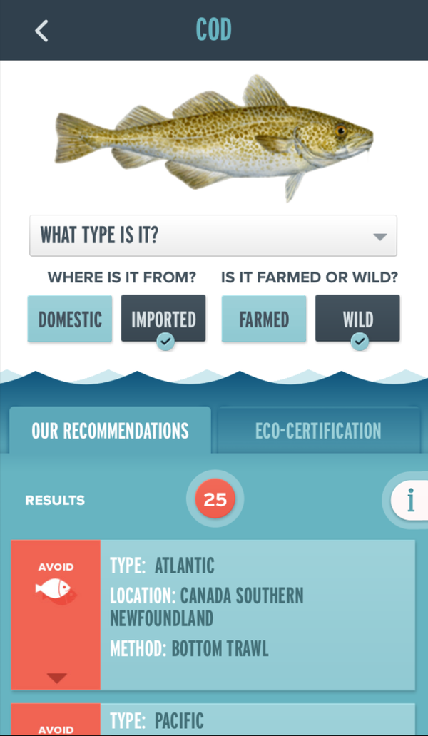 Monterey Bay Aquarium Seafood Watch App recommendations on what to avoid when buying cod.
