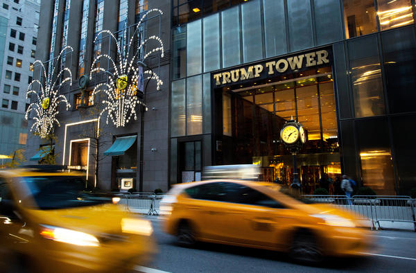 "Traffic flows past Trump Tower in New York in November 2016. The Trump administration wants more time to produce evidence that then-President Barack Obama ordered surveillance on Donald Trump during last year's election. Trump says his predecessor ordered his ""wires tapped"" in Trump Tower."