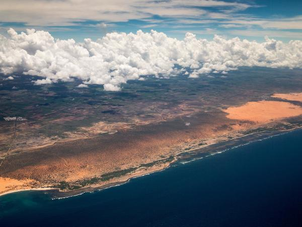 The Somali coast, as seen from an airplane nearing the airport in Mogadishu in 2015.