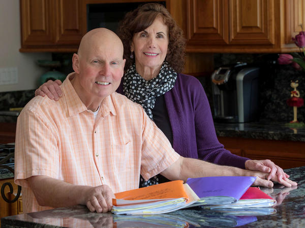 "Krahne, here with his wife, Audrey, says that delaying cancer treatment because of its cost ""was an educated risk that we didn't take lightly."""