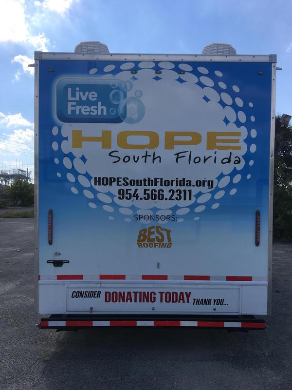 The trailer provided by HOPE, a South Florida non-profit organization.