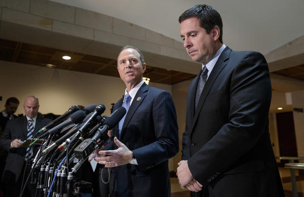 House Intelligence Committee Chairman Devin Nunes, R-Calif. (right), holds a news conference with ranking committee member Adam Schiff, D-Calif., Wedneday about their investigation of Russian influence on the American presidential election.