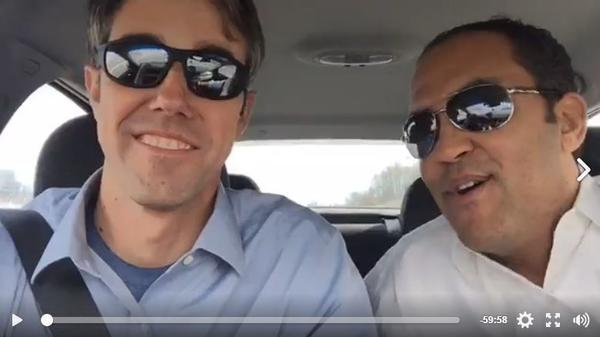 Democratic Rep. Beto O'Rourke (left) and Republican Rep. Will Hurd stream their road trip from Texas to Washington, D.C., on Facebook Live.