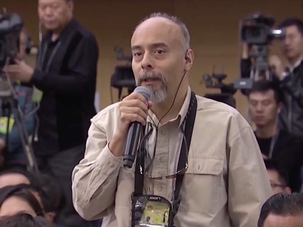 A video of NPR Beijing correspondent Anthony Kuhn asking a question about a policy to expand the Beijing region got 5 million views on Weibo, China's answer to Twitter.