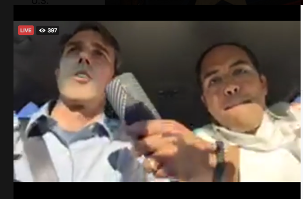 Congressmen Beto O'Rourke and Will Hurd, livestreaming their road trip from Texas to Washington D.C.