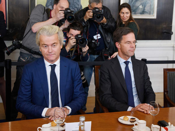 Dutch Prime Minister Mark Rutte (right) and Freedom Party leader Geert Wilders meet Thursday at the House of Representatives to discuss the formation of the cabinet in The Hague. Many Dutch parties have said they won't work with Wilders' Party of Freedom.