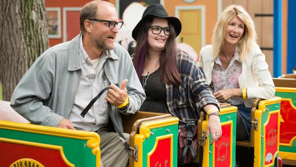 Estrangement on a Train: Wilson (Woody Harrelson), Claire (Isabella Amana) and Pippi (Laura Dern) in <em>Wilson</em>.