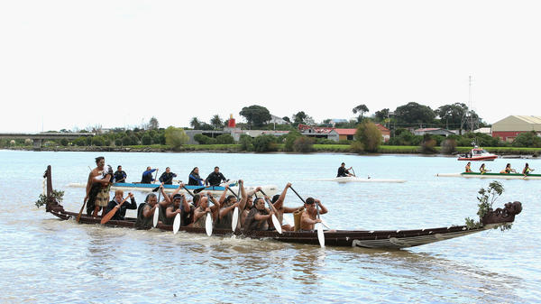 Māori paddlers guide a boat down the Whanganui River in New Zealand, during a visit from Britain's Prince Harry in 2015.
