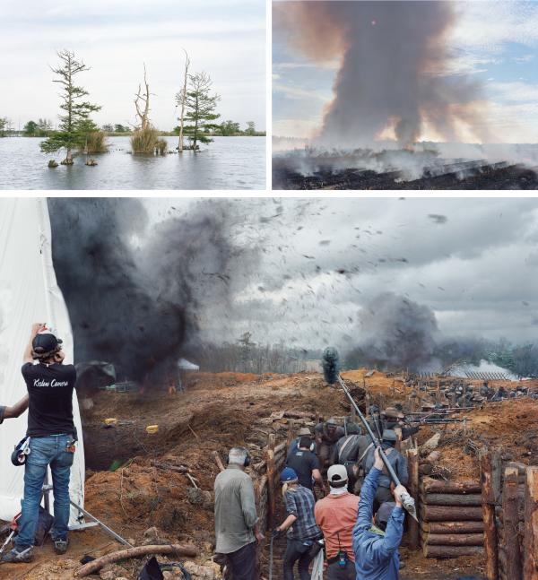 "Artist An-My Lê is exhibiting photographs from 2015 and 2016 at the Biennial, including (top left) <em>April 17, Swamp, Venice, Louisiana</em>, (top right) <em>November 5, Sugar Cane Field, Houma, Louisiana</em> and (bottom) <em>Film Set</em> (""Free State of Jones""), <em>Battle of Corinth, Bush, Louisiana</em>."