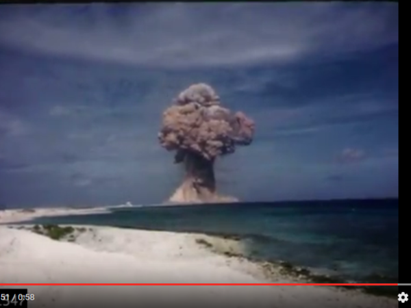 A still from a film recently digitized by a team at Lawrence Livermore National Laboratory. The film shows a 1958 explosion at Bikini Atoll in the Marshall Islands.