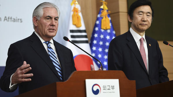 """The policy of strategic patience has ended,"" Secretary of State Rex Tillerson (left) said Friday of dealing with North Korea. Tillerson is visiting South Korea; he's seen here alongside South Korean Foreign Minister Yun Byung-se in Seoul."